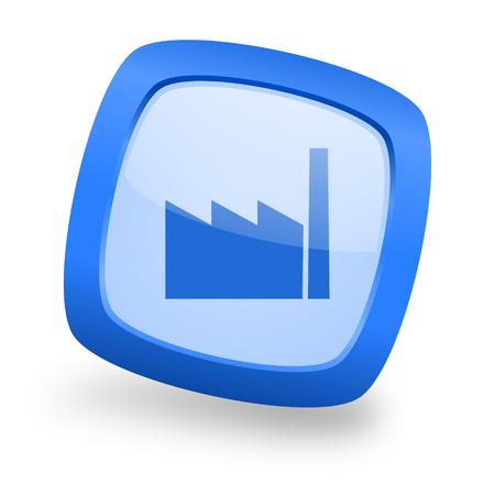 factory blue glossy web design icon Stock Photo