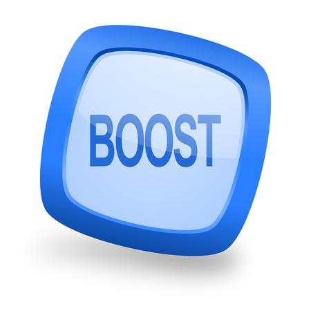 boost: boost blue glossy web design icon Stock Photo