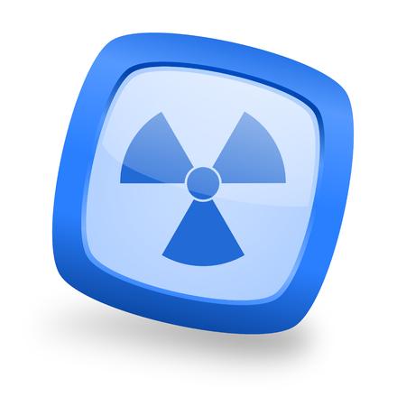 radiation blue glossy web design icon