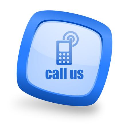 call us: call us blue glossy web design icon