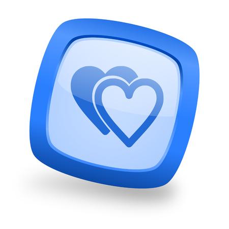 love blue glossy web design icon