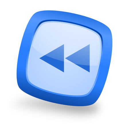 eject icon: rewind blue glossy web design icon