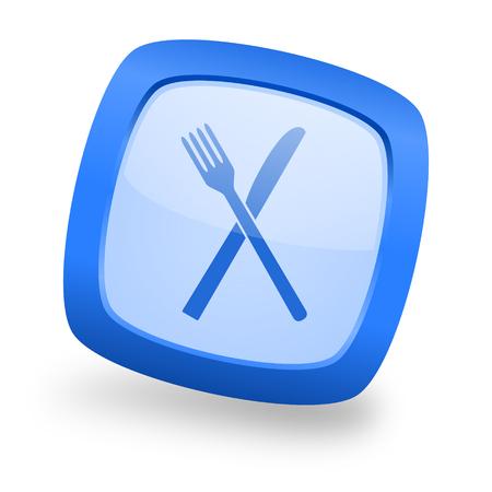 restaurant blue glossy web design icon