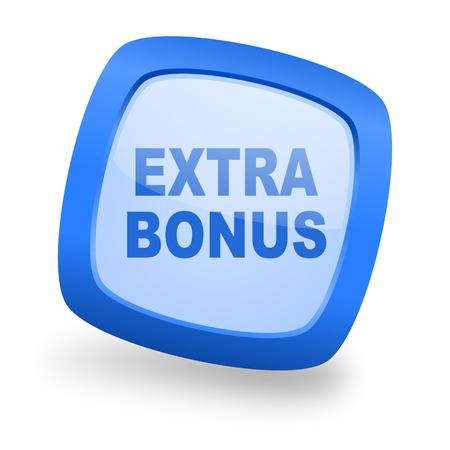discounting: extra bonus blue glossy web design icon