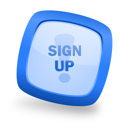 subscribing: sign up blue glossy web design icon Stock Photo