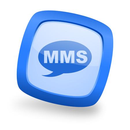 mms: mms blue glossy web design icon Stock Photo