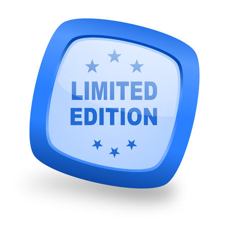 limited edition: limited edition blue glossy web design icon