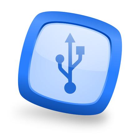 pendrive: usb blue glossy web design icon