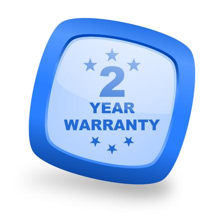 web 2: warranty guarantee 2 year blue glossy web design icon