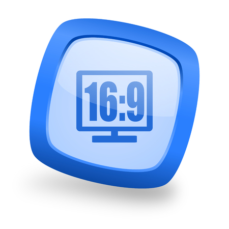 display: 16:9 display blue glossy web design icon Stock Photo