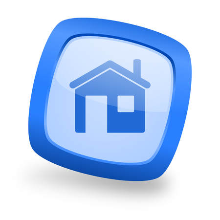 house blue glossy web design icon