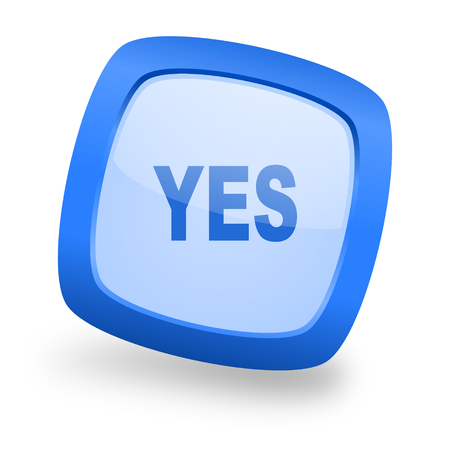 yea: yes blue glossy web design icon Stock Photo