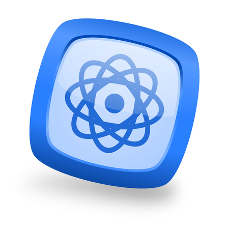 gamma radiation: atom blue glossy web design icon Stock Photo