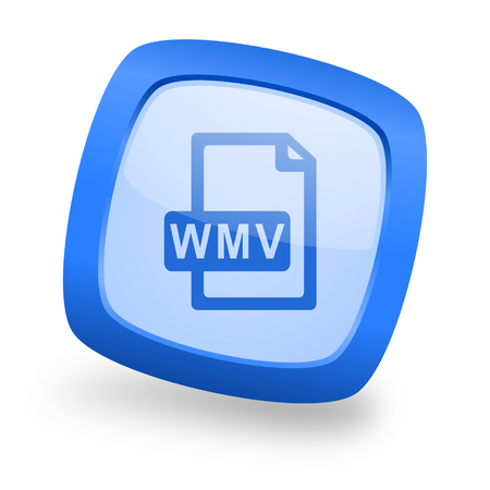 wmv: wmv file blue glossy web design icon Stock Photo