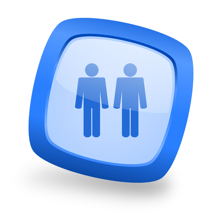 couple blue glossy web design icon