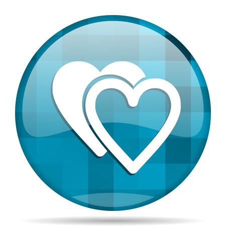 love blue round modern design internet icon on white background Standard-Bild