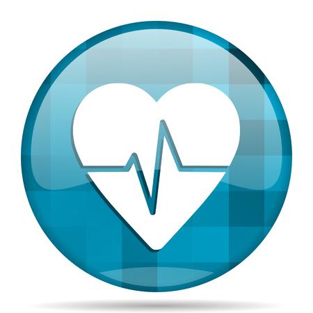 electrocardiograma: pulso redondo de color azul icono moderno diseño del Internet en el fondo blanco