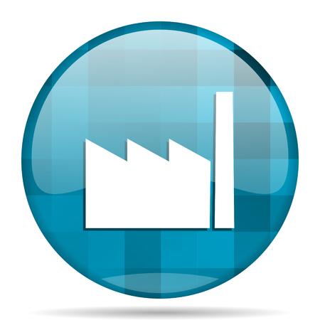 factory blue round modern design internet icon on white background Stock Photo