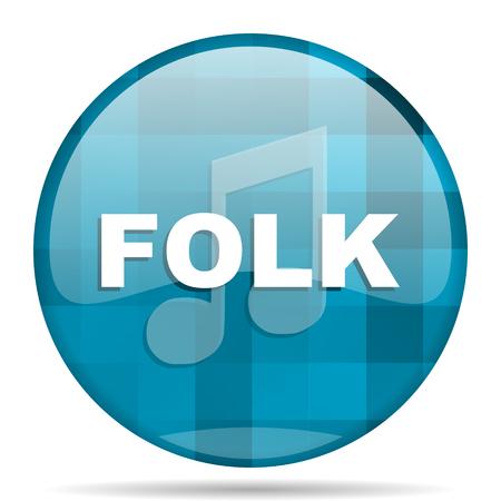 folk music blue round modern design internet icon on white background Stock Photo