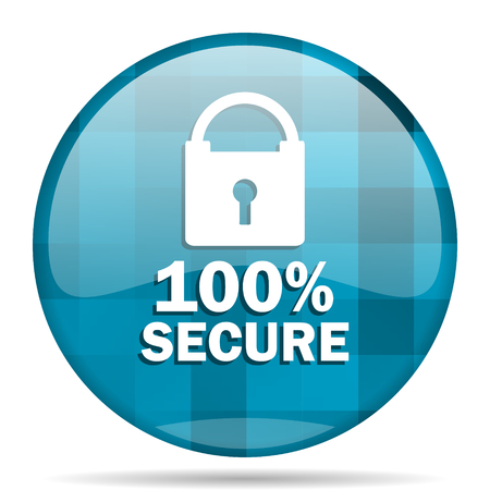 secure blue round modern design internet icon on white background