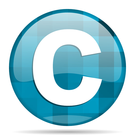 copyright blue round modern design internet icon on white background