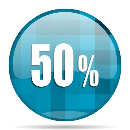 50 percent blue round modern design internet icon on white background Stock Photo