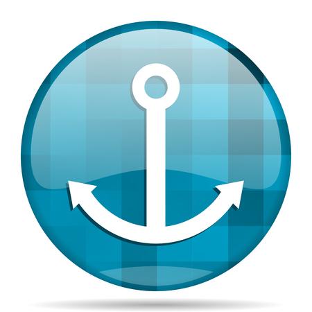 anchor blue round modern design internet icon on white background