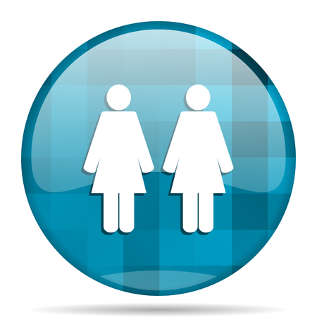 couple blue round modern design internet icon on white background