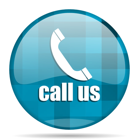 call us: call us blue round modern design internet icon on white background Stock Photo