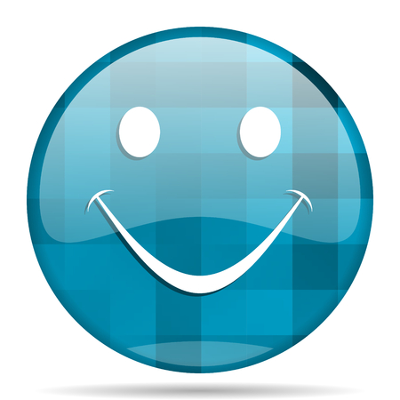 smile blue round modern design internet icon on white background Stock Photo