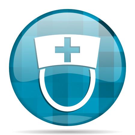 nurse blue round modern design internet icon on white background
