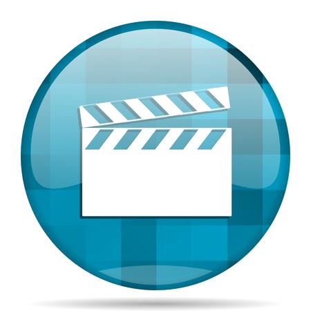 cinematograph: video blue round modern design internet icon on white background