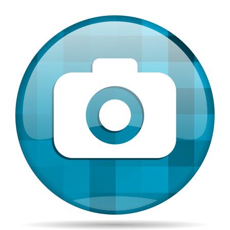 picto: photo camera blue round modern design internet icon on white background Stock Photo