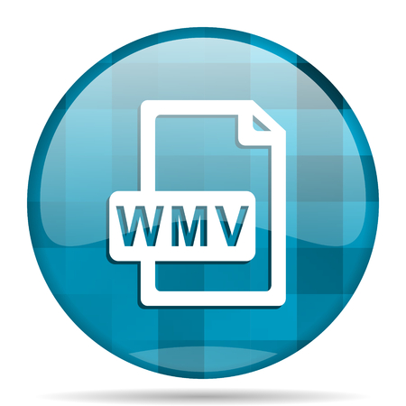 wmv: wmv file blue round modern design internet icon on white background