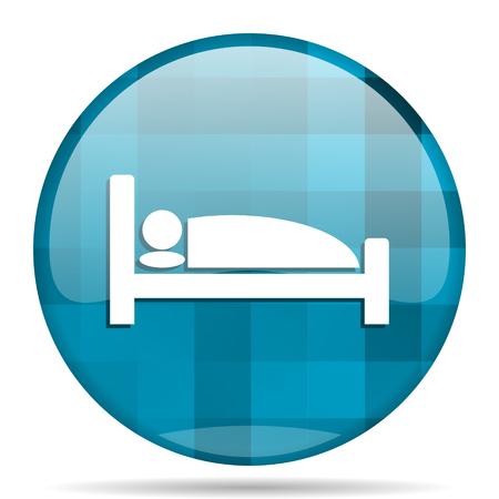 hotel blue round modern design internet icon on white background Stock Photo