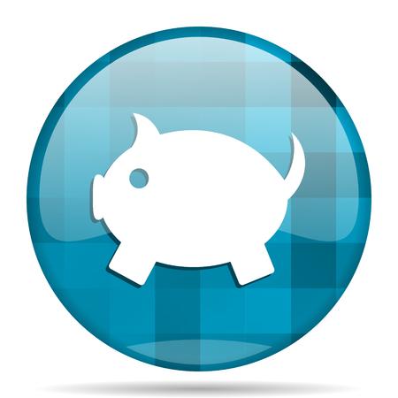us coin: piggy bank blue round modern design internet icon on white background