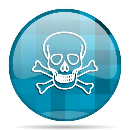 skull blue round modern design internet icon on white background