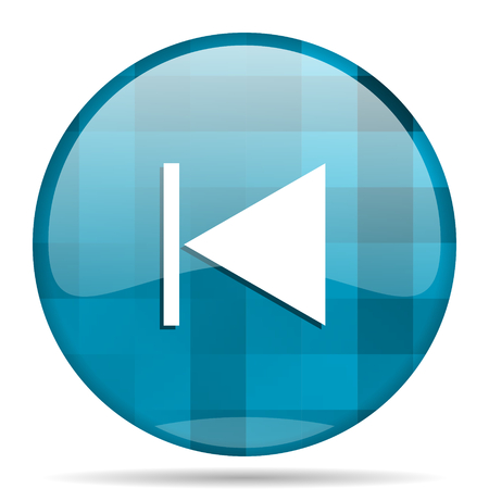 eject icon: prev blue round modern design internet icon on white background