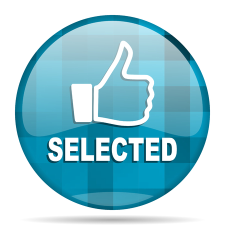 selected: selected blue round modern design internet icon on white background Stock Photo