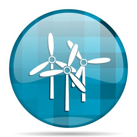 windmill blue round modern design internet icon on white background