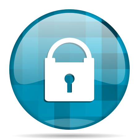 padlock blue round modern design internet icon on white background