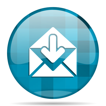 email blue round modern design internet icon on white background
