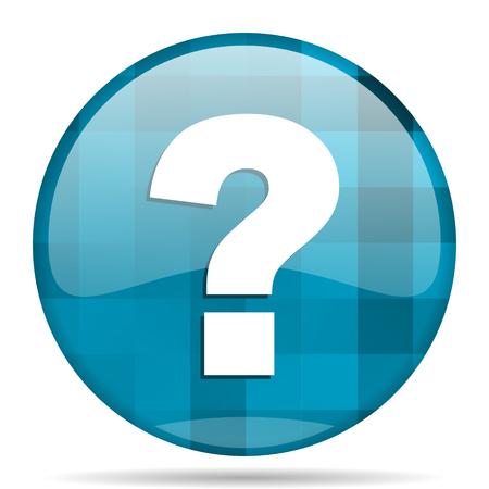 question mark blue round modern design internet icon on white background