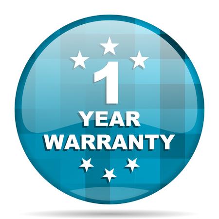 1 year warranty: warranty guarantee 1 year blue round modern design internet icon on white background
