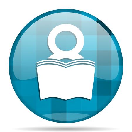 book blue round modern design internet icon on white background Stock Photo