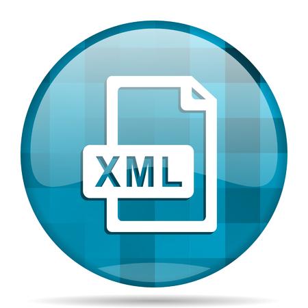xml: xml file blue round modern design internet icon on white background