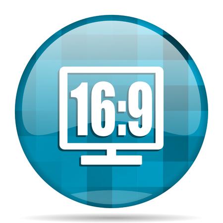 16 9: 16 9 display blue round modern design internet icon on white background