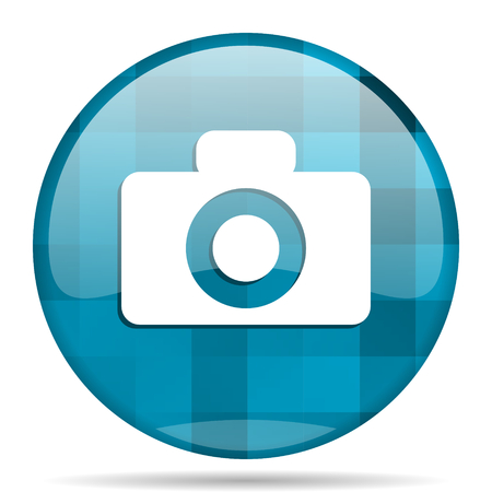 camera blue round modern design internet icon on white background Stock Photo