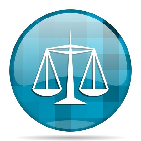 justice blue round modern design internet icon on white background
