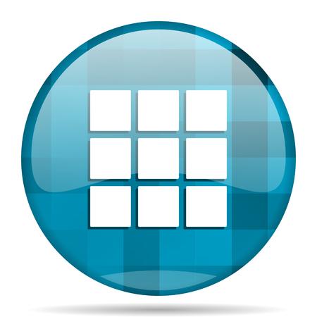 thumbnails: thumbnails grid blue round modern design internet icon on white background